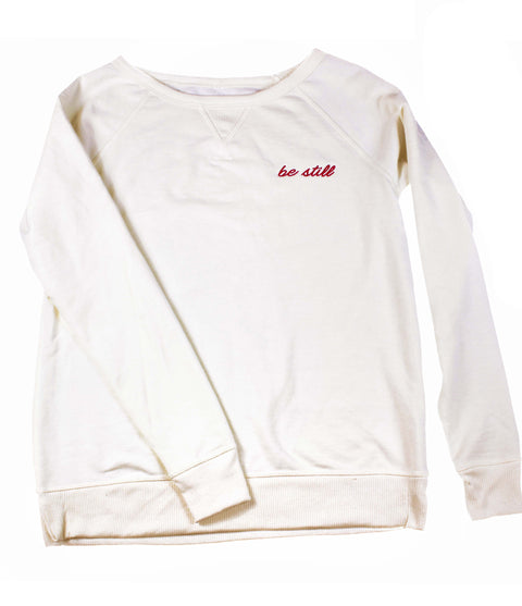 BE STILL EMBROIDERED CREAM SWEATSHIRT