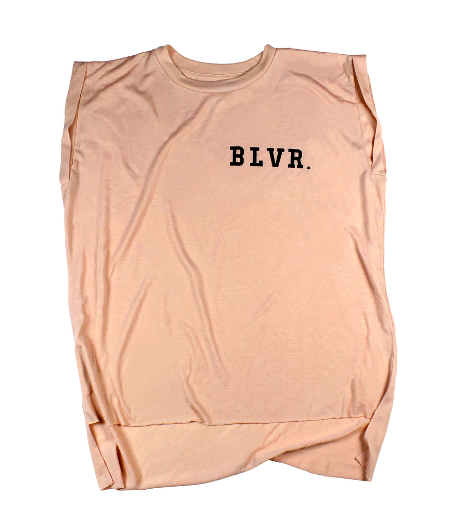 BLVR. PEACH WOMEN'S ROLLED CUFF MUSCLE T-SHIRT