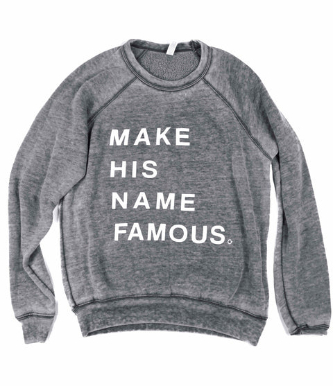 MAKE HIS NAME FAMOUS ACID WASH PULLOVER