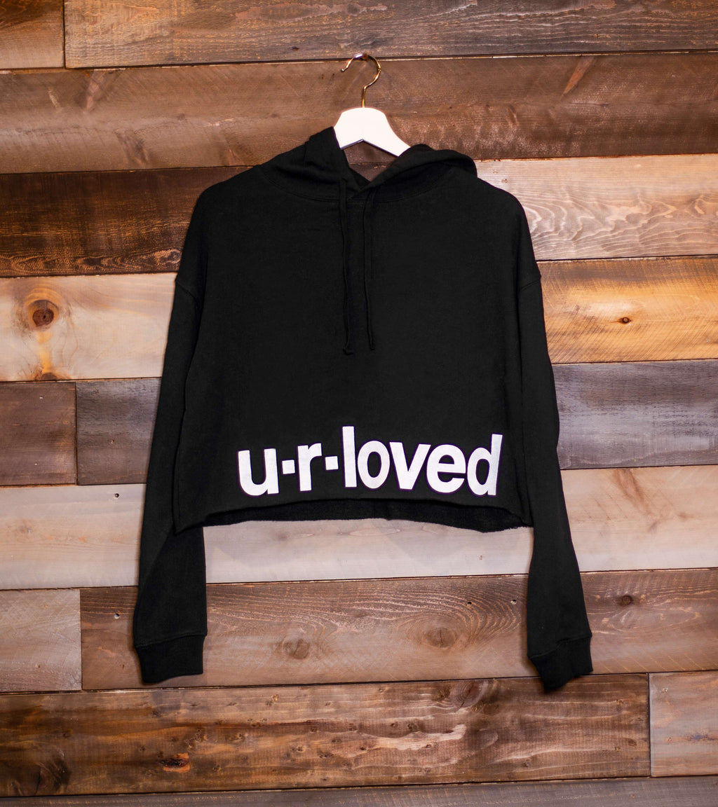 U.R.LOVED BLACK CROPPED HOODIE