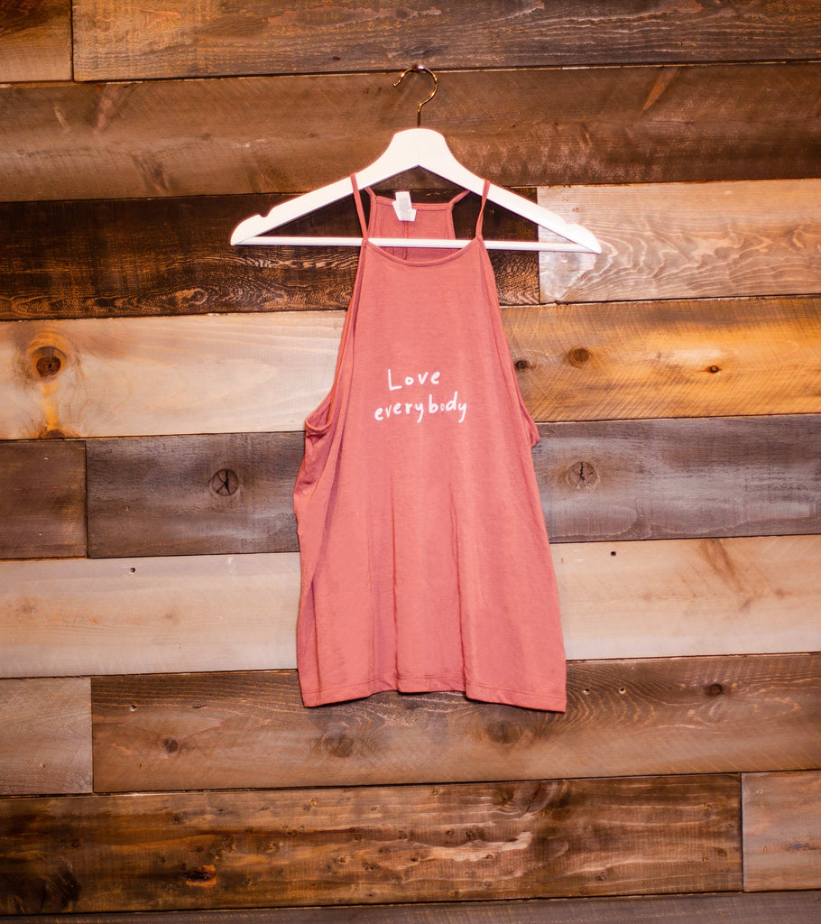 LOVE EVERYBODY MAUVE WOMEN'S FLOWY HIGH NECK TANK