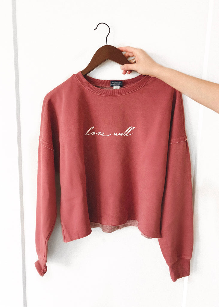 LOVE WELL WASHED RED DISTRESSED BOXY SWEATSHIRT