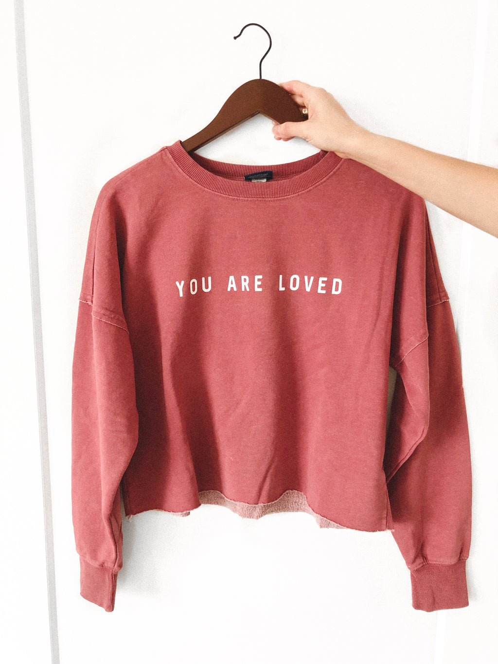 YOU ARE LOVED WASHED RED DISTRESSED BOXY SWEATSHIRT