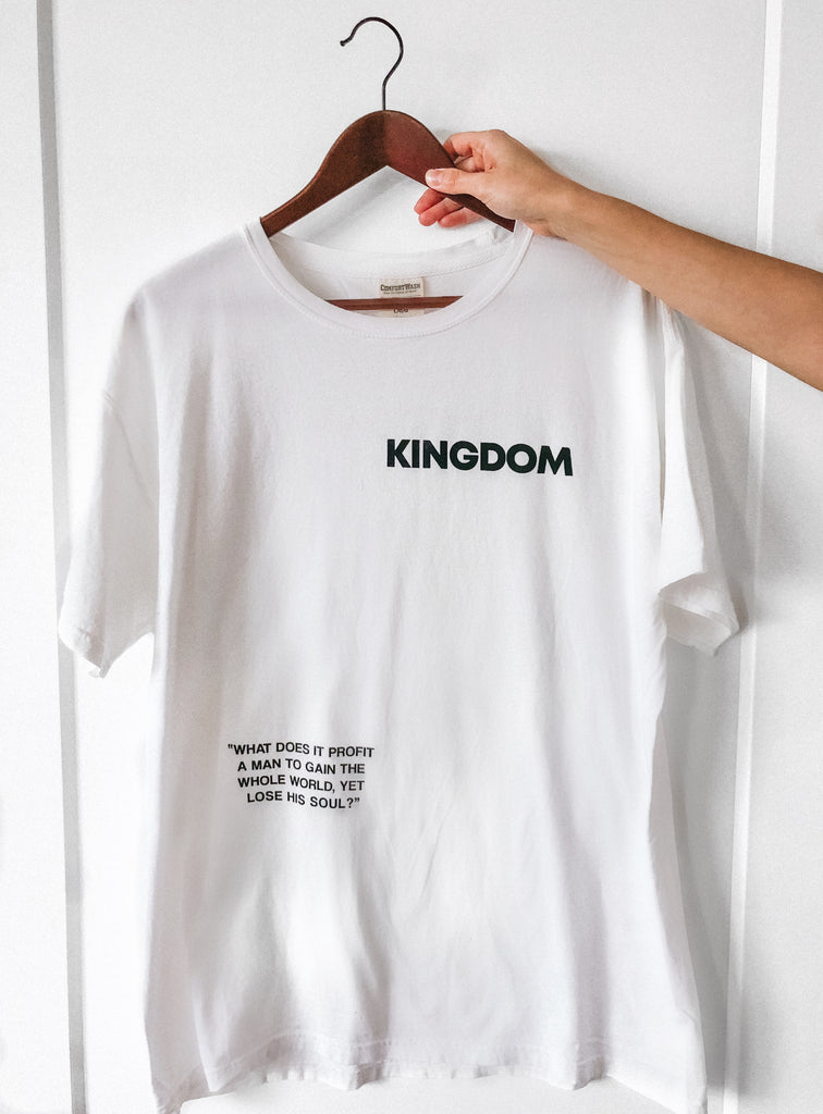 KINGDOM WHAT DOES IT PROFIT WHITE SLEEVE T-SHIRT