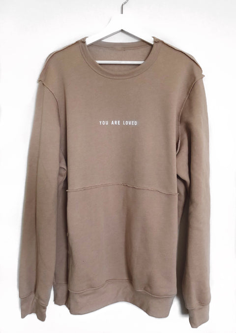 YOU ARE LOVED HEATHER OAT RAW SEAM CREW PULLOVER