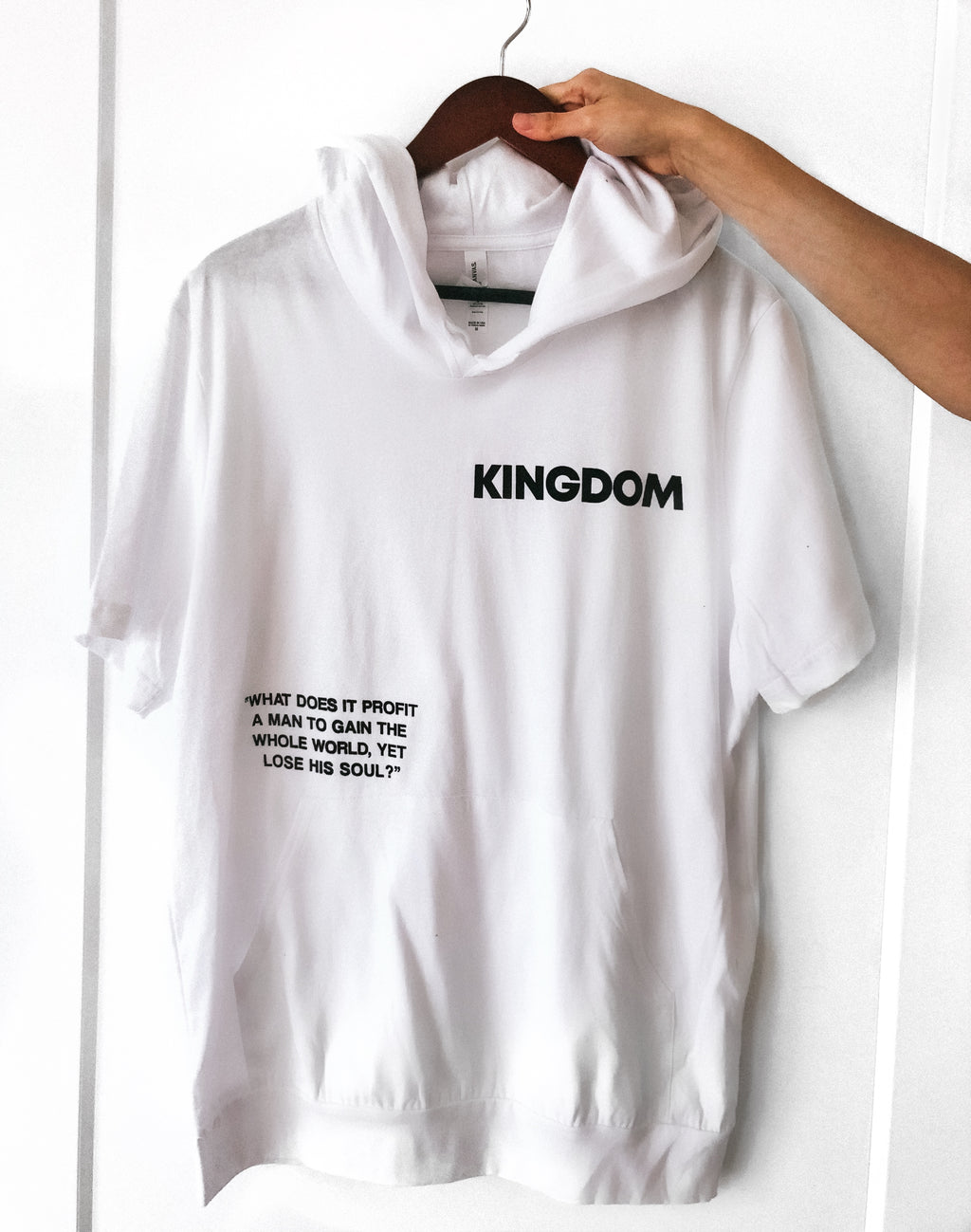 KINGDOM WHAT DOES IT PROFIT WHITE JERSEY SHORT-SLEEVE HOODIE