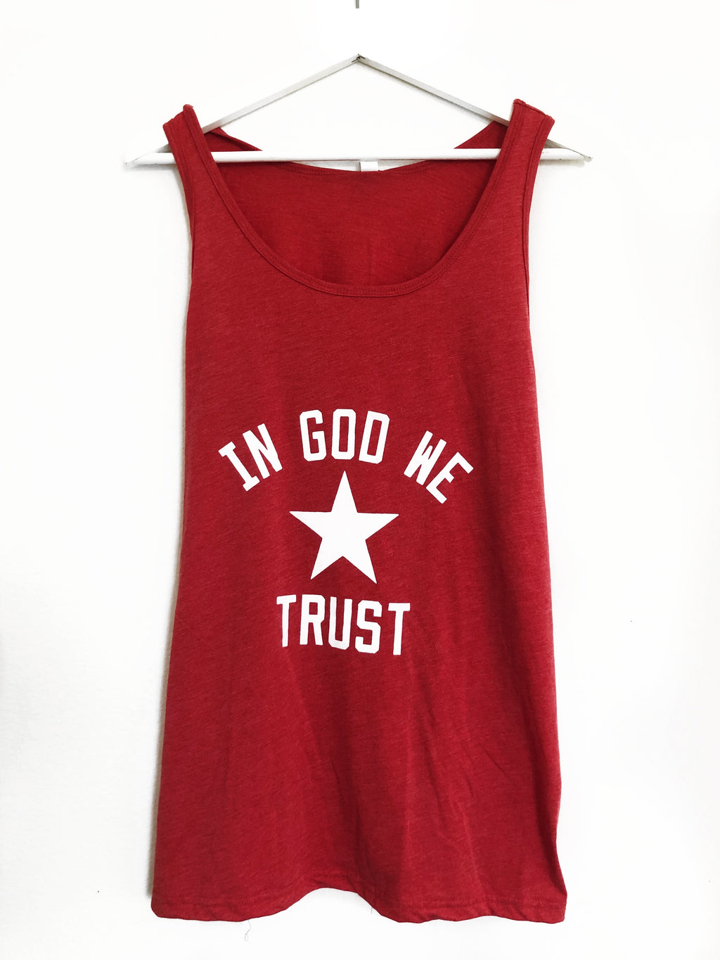 IN GOD WE TRUST RED TANK