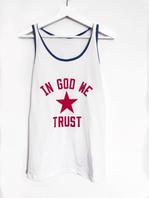 IN GOD WE TRUST RED, WHITE, BLUE RINGER TANK