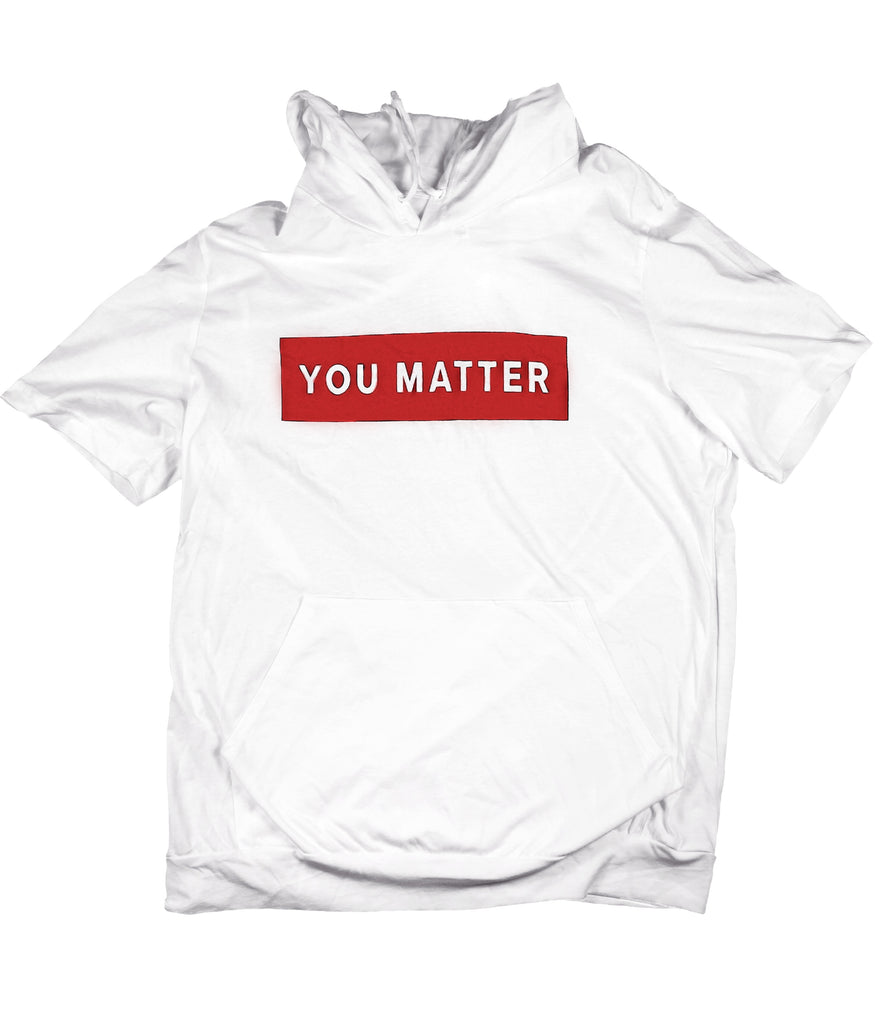 YOU MATTER RED BOX WHITE JERSEY SHORT SLEEVE HOODIE