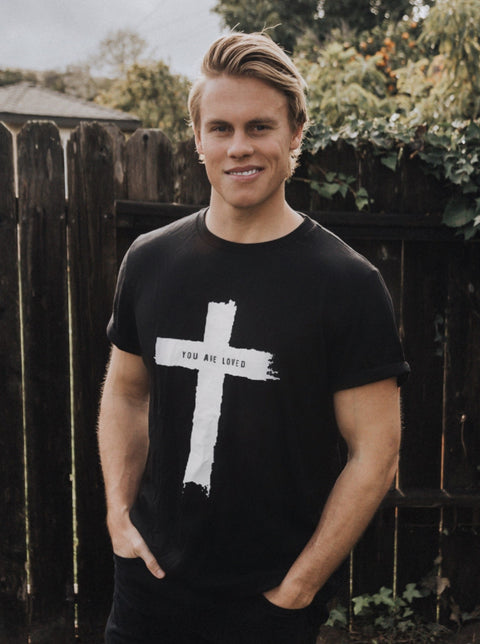 CROSS YOU ARE LOVED BLACK ROLLED SLEEVE T-SHIRT