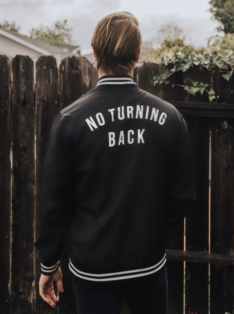 NO TURNING BACK LIGHTWEIGHT STRIPE BOMBER JACKET