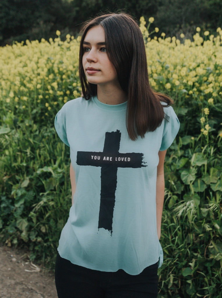 CROSS YOU ARE LOVED MINT FLOWY WOMEN'S ROLLED SLEEVE T-SHIRT