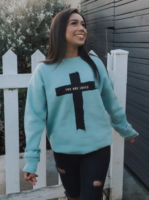 CROSS YOU ARE LOVED MINT SOFT CREW NECK SWEATSHIRT