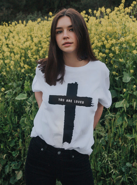CROSS YOU ARE LOVED WHITE ROLLED SLEEVE T-SHIRT