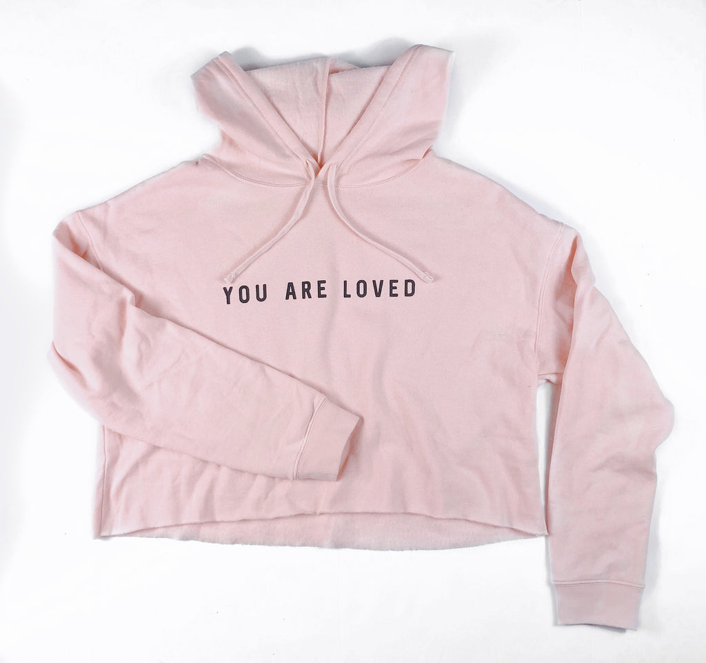 YOU ARE LOVED BLUSH CROPPED HOODIE
