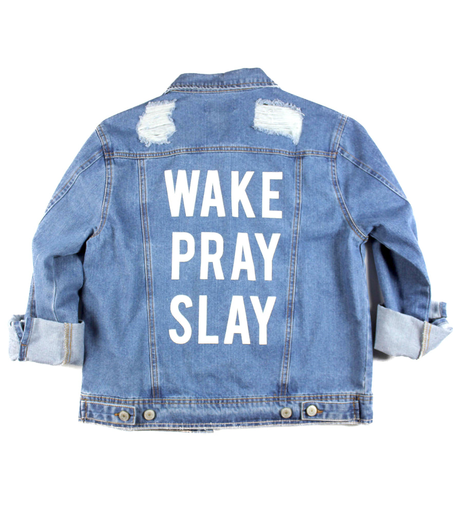 WAKE PRAY SLAY DISTRESSED DENIM JACKET