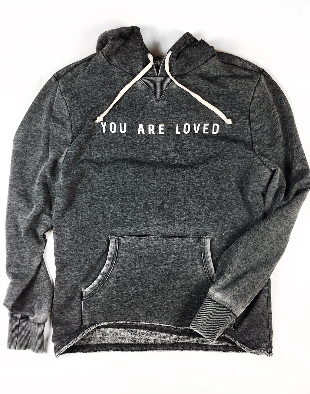 YOU ARE LOVED WASHED BLACK HOODIE