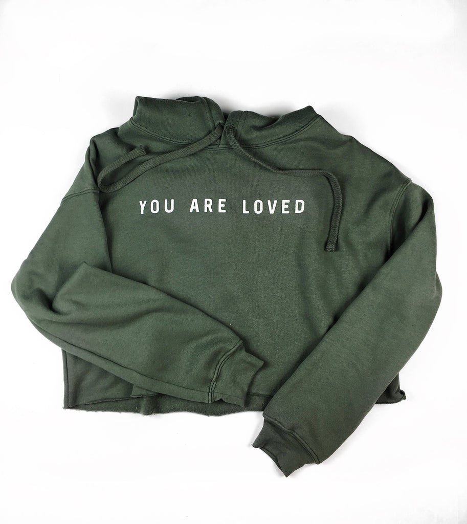 YOU ARE LOVED MILITARY GREEN CROPPED HOODIE