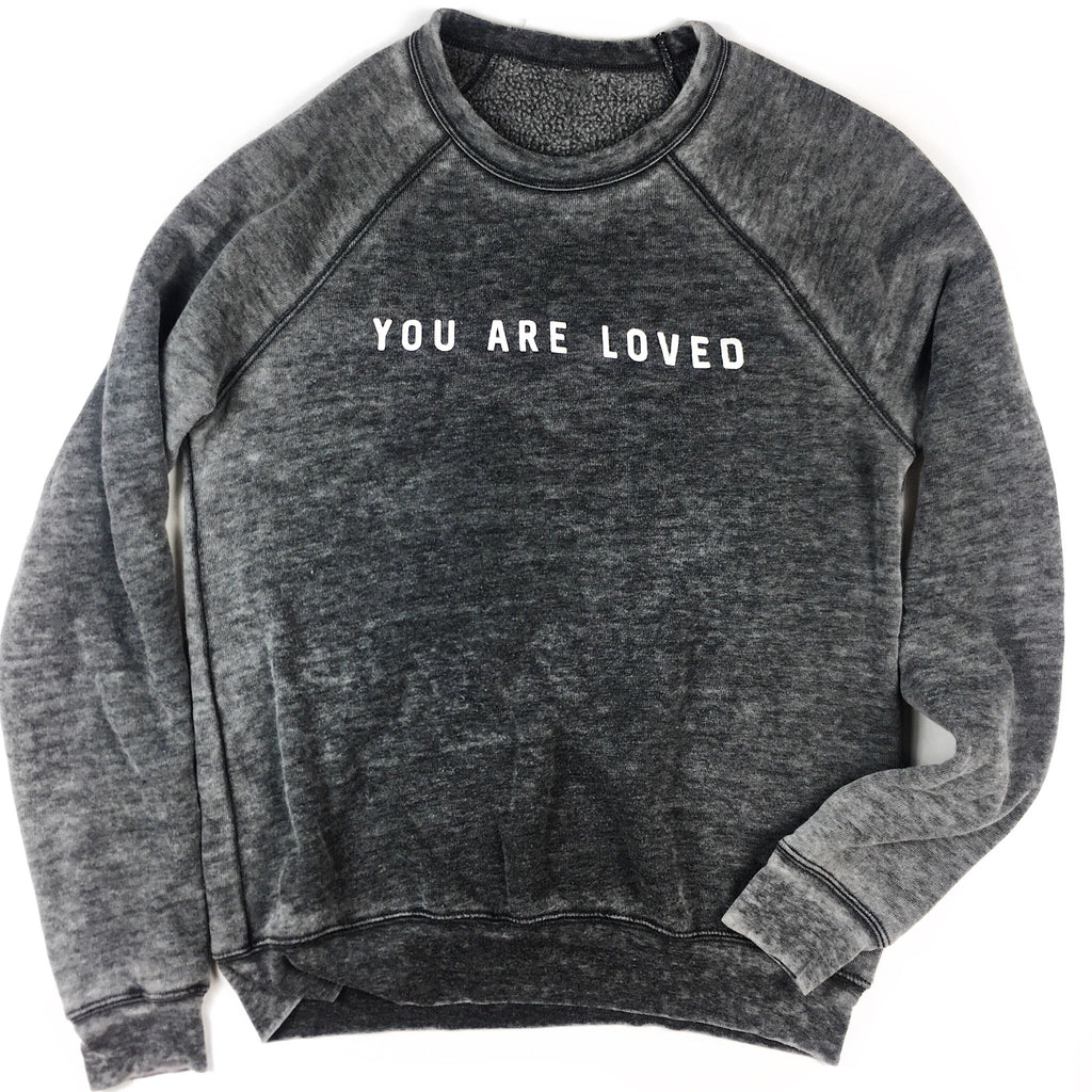 YOU ARE LOVED ACID WASH PULLOVER