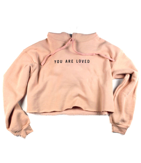 YOU ARE LOVED PEACH CROPPED HOODIE