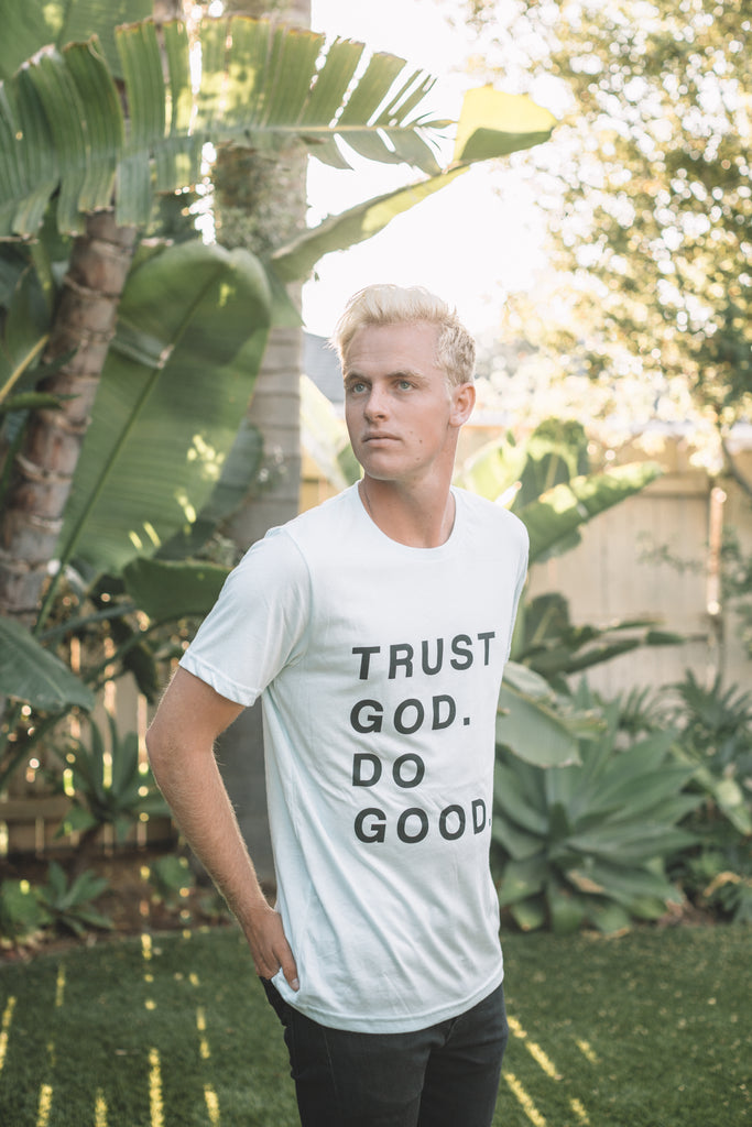 TRUST GOD. DO GOOD. ICE BLUE SLEEVE T-SHIRT