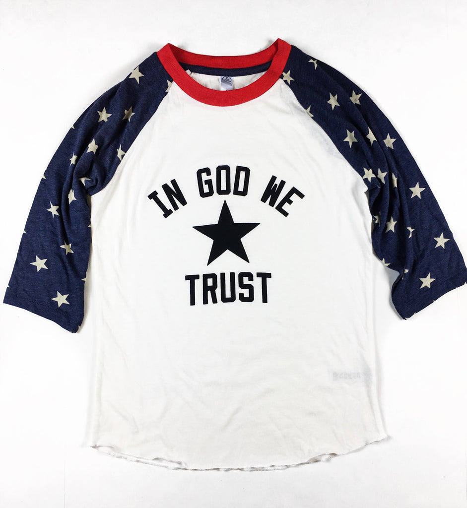 IN GOD WE TRUST STARS BASEBALL RAGLAN