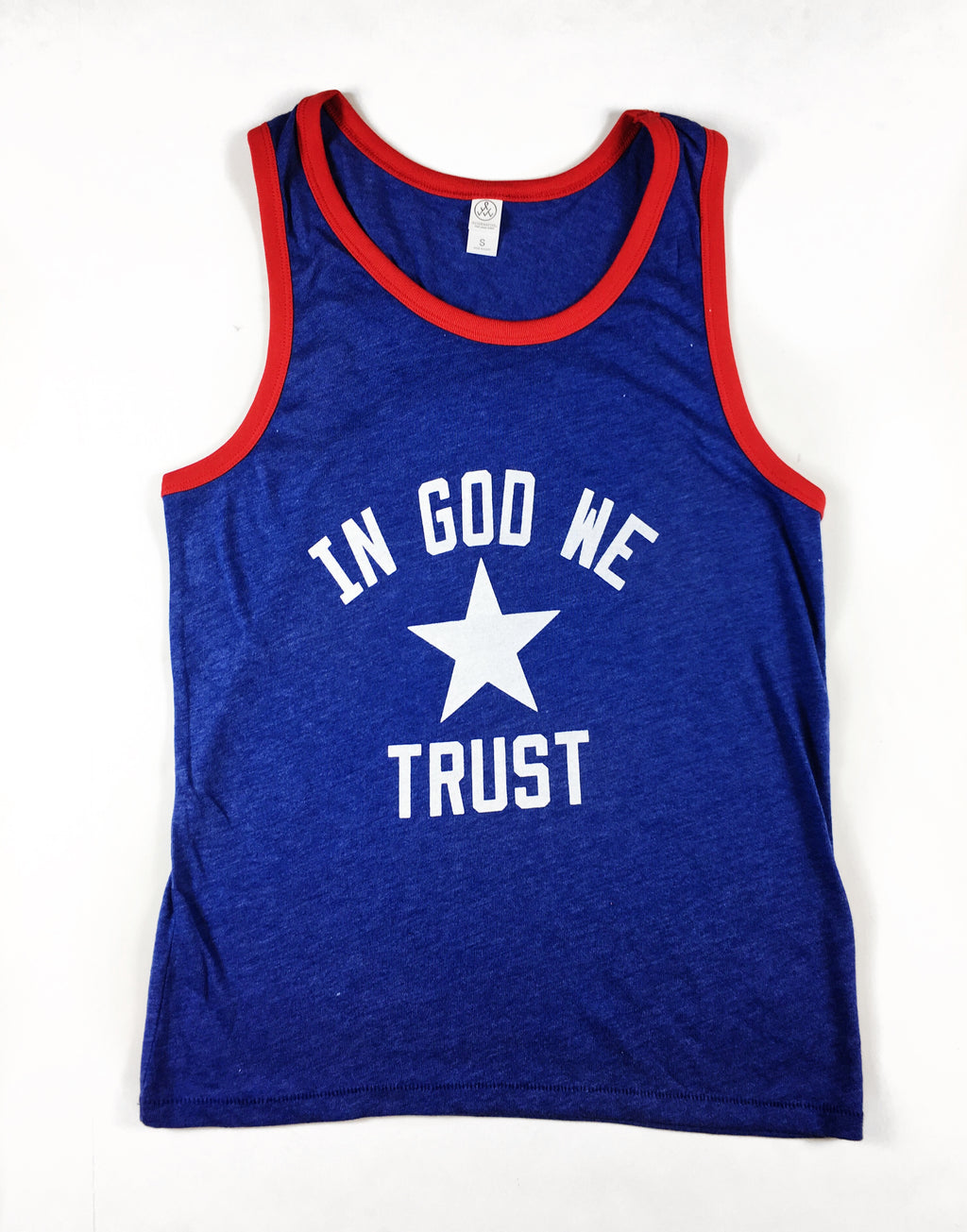 IN GOD WE TRUST BLUE/RED RINGER TANK