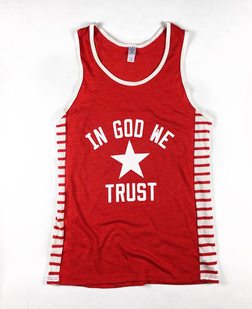 IN GOD WE TRUST RED STRIPE TANK