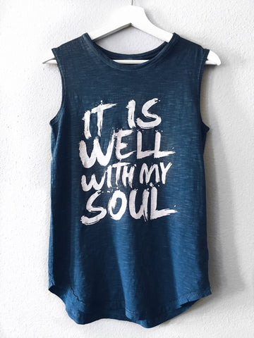 IT IS WELL NAVY DYED WOMEN'S SLEEVELESS TANK