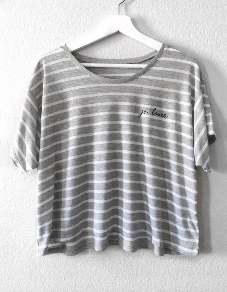 J.C. LOVER SCRIPT GREY/WHITE STRIPE WOMEN'S BOXY T-SHIRT