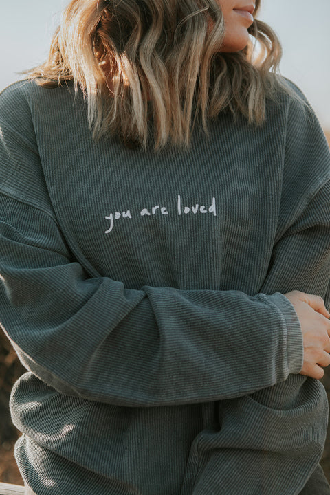 YOU ARE LOVED SLATE BLUE CORDUROY PULLOVER