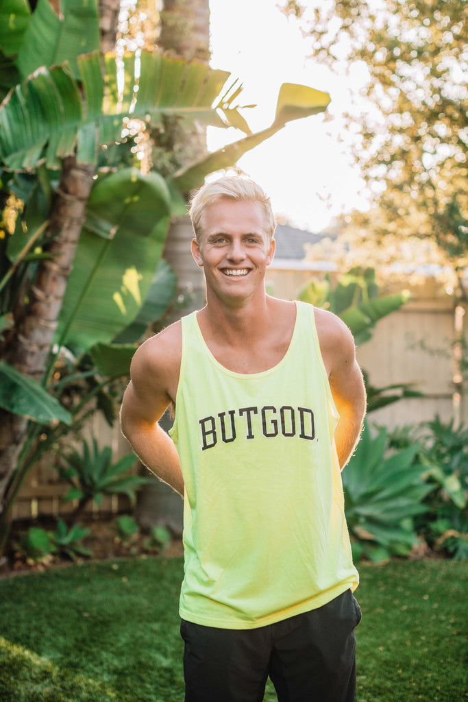 BUT GOD NEON YELLOW UNISEX TANK