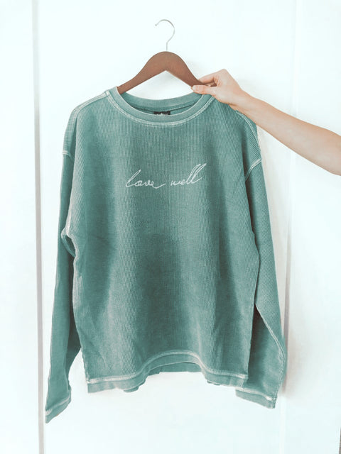 LOVE WELL SEAFOAM CORDUROY PULLOVER