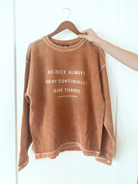 GIVE THANKS TAN CORDUROY PULLOVER