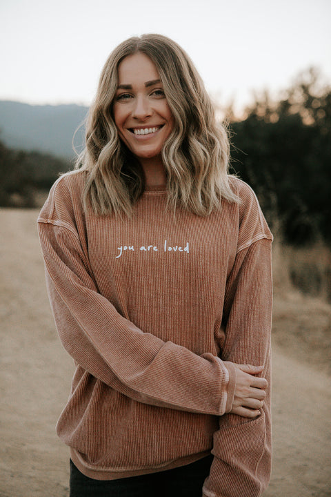 YOU ARE LOVED TAN CORDUROY PULLOVER