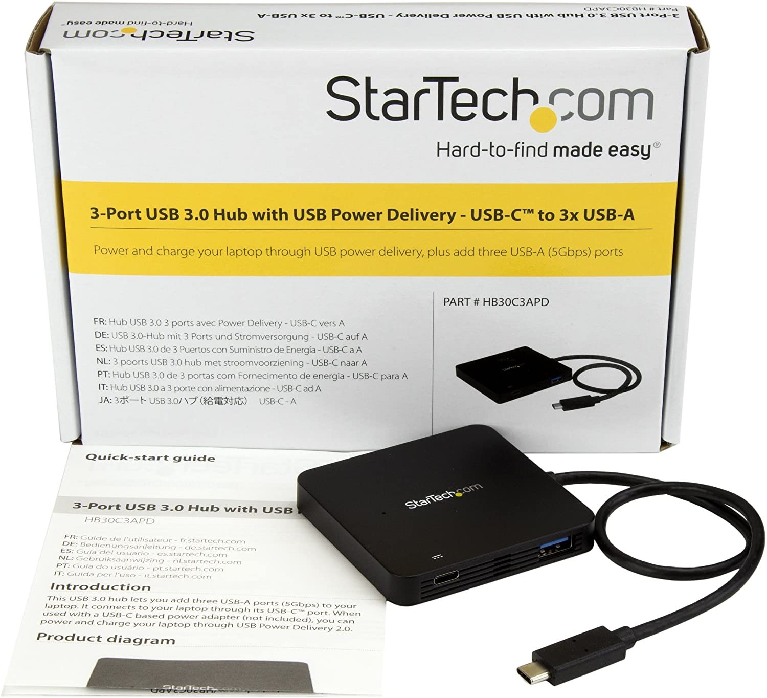 StarTech.com USB C Hub - 3 Port USB C to USB-A (3x) - with Power Delivery (USB PD) - USB-C Hub - Powered USB Hub