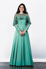 Paris Green Pearl And Bead Worked Crape Silk Gown
