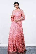 Paris Peach Floral Appliqued Net Gown