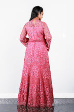 Paris Strawberry Pink Floral Appliqued Net Gown
