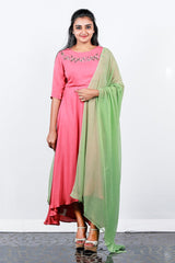 Peachy Pink Crape Georgette High-low Anarkali With Bottom An Duppatta