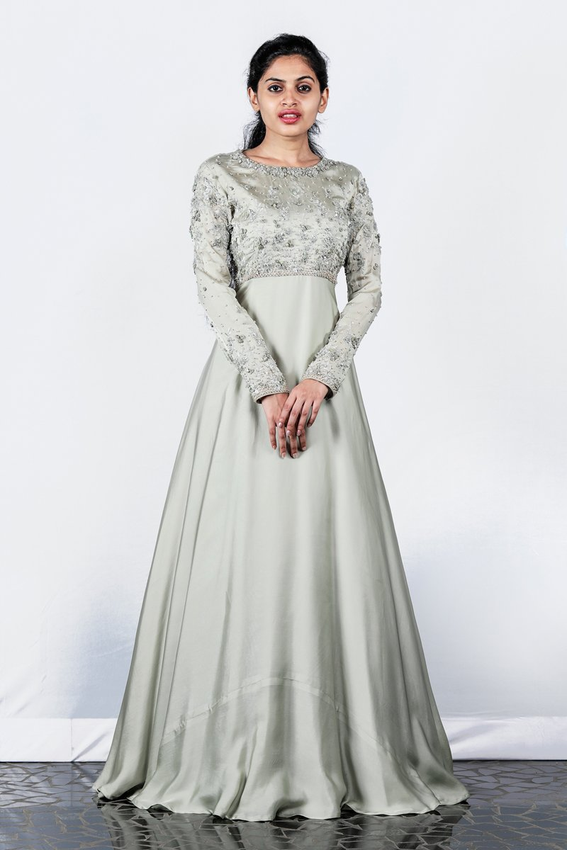 Paris Light Greyish Green Satin Organza Gown