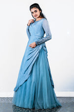 Paris Dull Blue Embellished Organza Gown