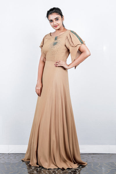 Paris Dark Beige Double Georgette Gown With Pleated Asymmetrical Fluttered Sleeve