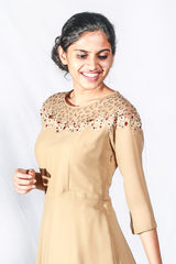 Dark Beige Embroidered Floor Length Georgette Gown