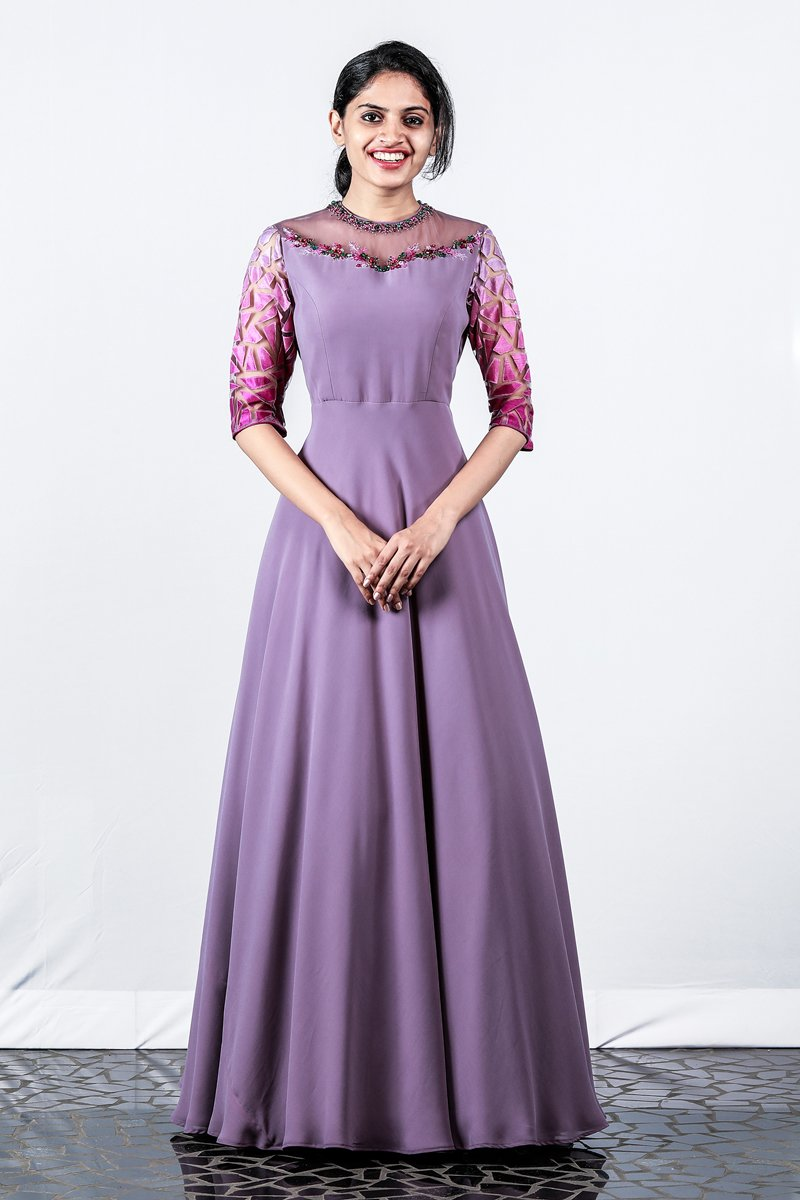 Paris Dull Violet Georgette Gown With Shaded Embroidery
