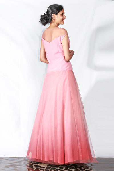 Peach Draped Georgette Gown With Floral, Crystal And Pearl Embroidery