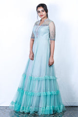 Light Blue And Grey Embellished Gown With Frilled Overlapping Flairs