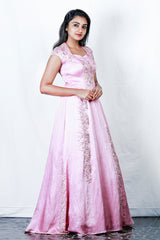 Pink Linen Satin Appliqued 3-panel Gown