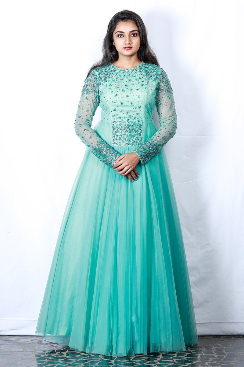 Sky Blue Embellished Tulle Gown