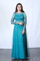 Blue Embroidered And Floral Appliqued Net Gown